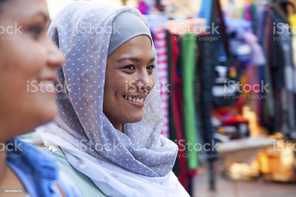 Muslim woman looking away smiling royalty-free stock photo