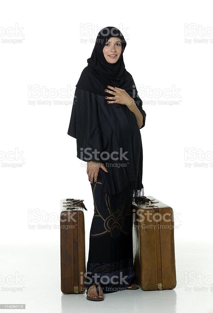 Muslim woman traveling stock photo