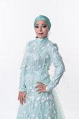 muslim woman with long night dress studio shoot