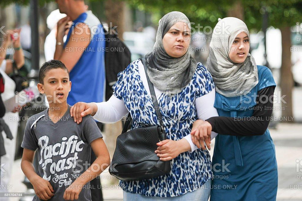 Muslim women in Tunisia stock photo
