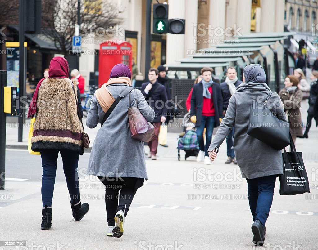Muslim women wearing hijabs in London stock photo