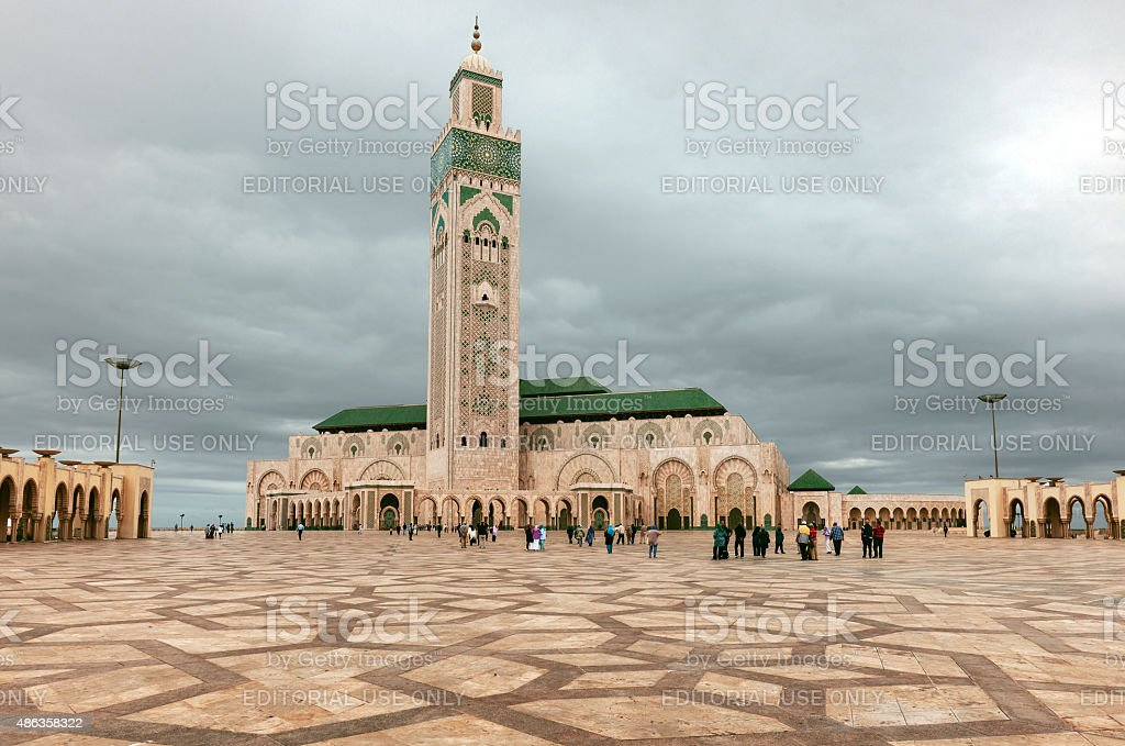 Muslims at Hassan II Mosque, Casablanca Morocco,North Africa stock photo