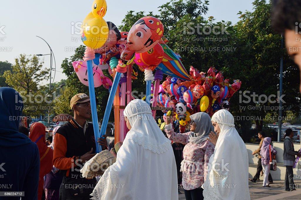 Muslims in Surabaya stock photo