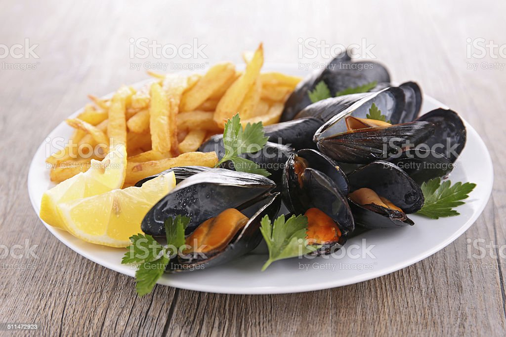 mussel and fries stock photo