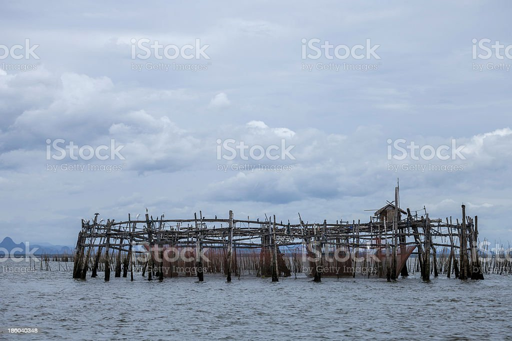 Mussel farms in the sea of Thailand. stock photo