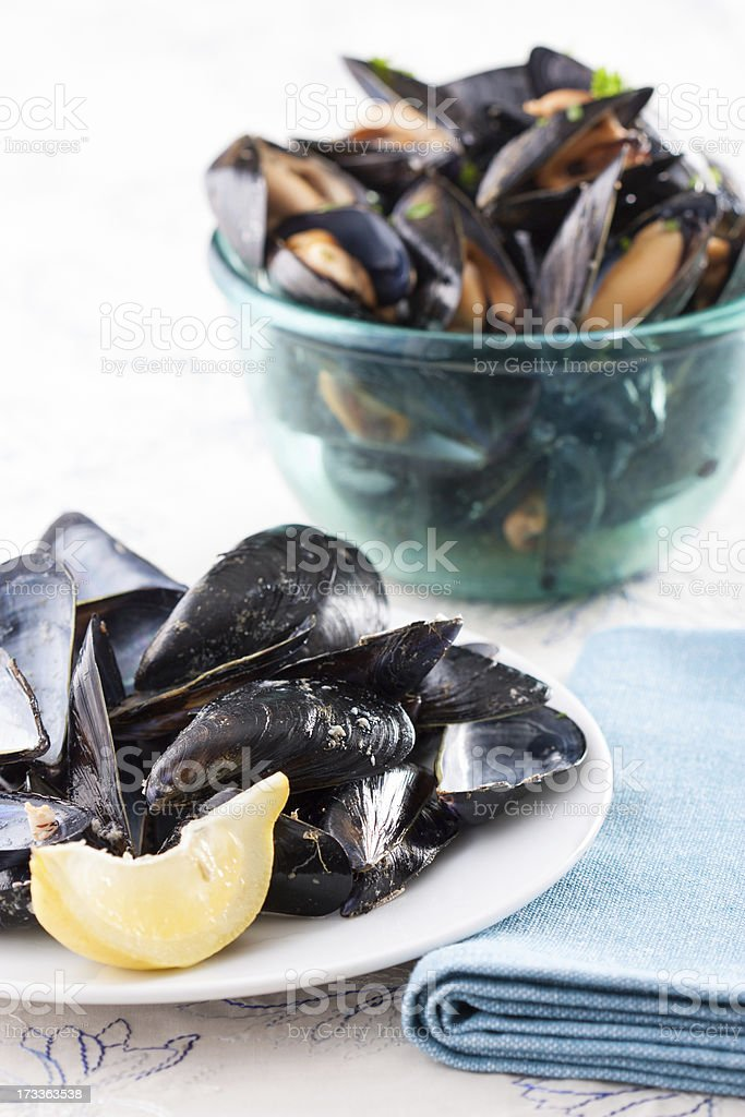 Mussel shells and bowl of mussels royalty-free stock photo