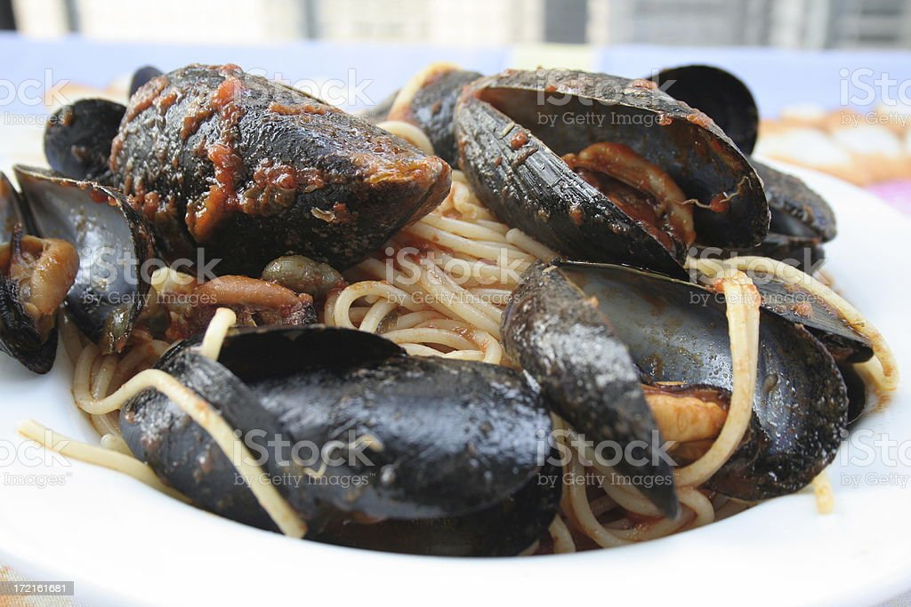 mussel with pasta stock photo