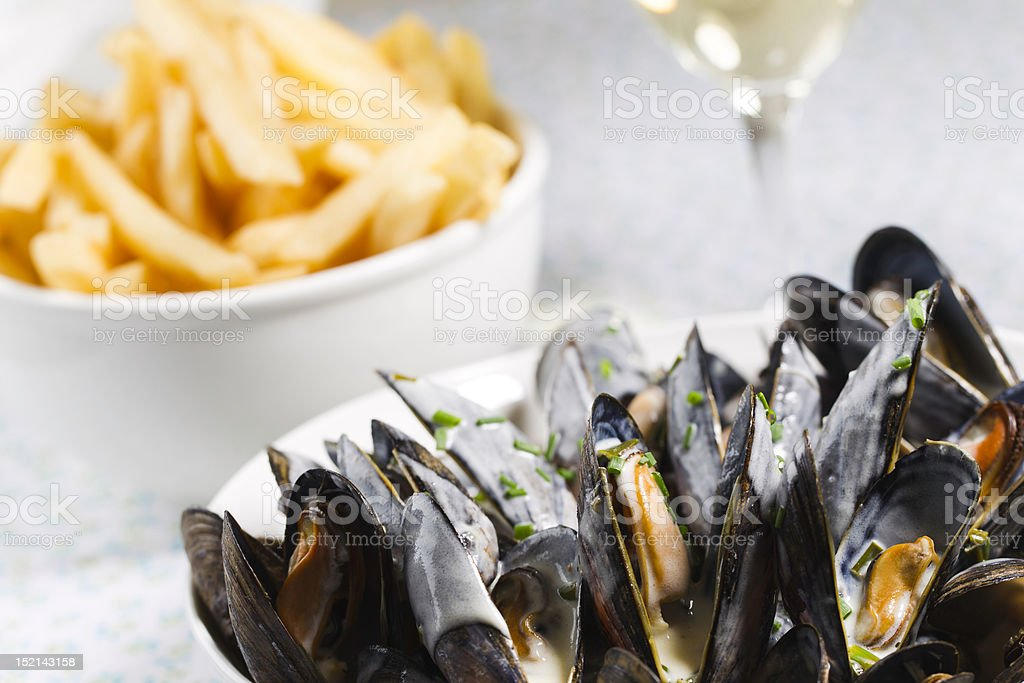 mussel,frie and white wine stock photo
