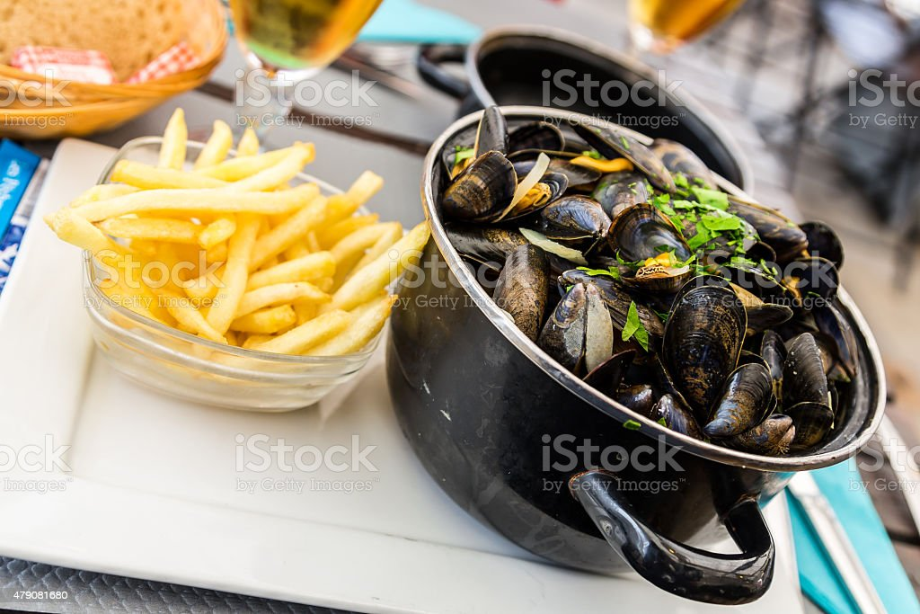 Mussels and Chips stock photo