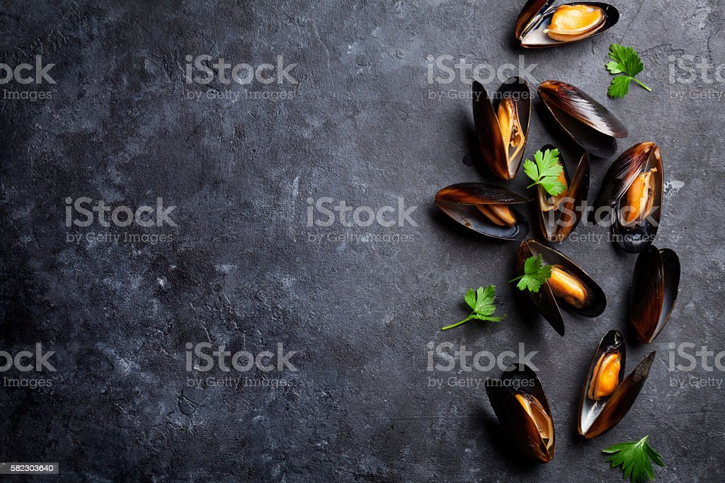 Mussels and parsley stock photo