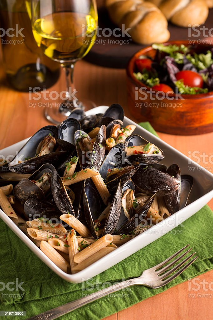 Mussels and Pasta stock photo