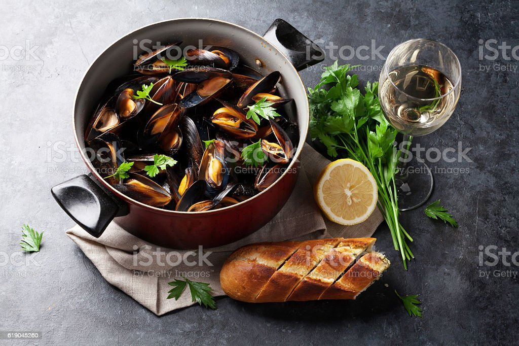 Mussels and wine stock photo