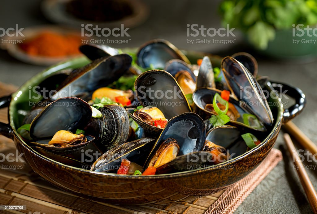Mussels Asian Style stock photo
