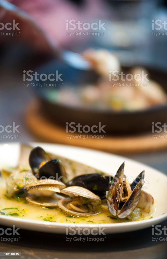 Mussels during service in a fine dining establishment stock photo