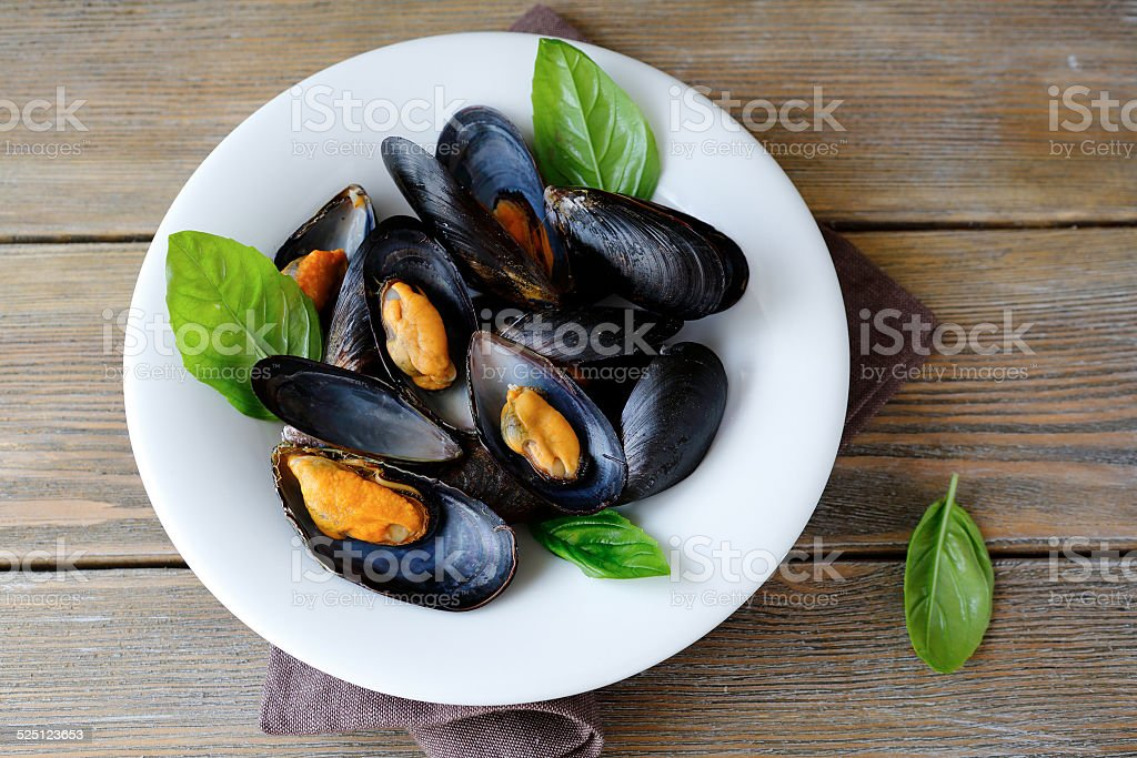 Mussels in sauce stock photo