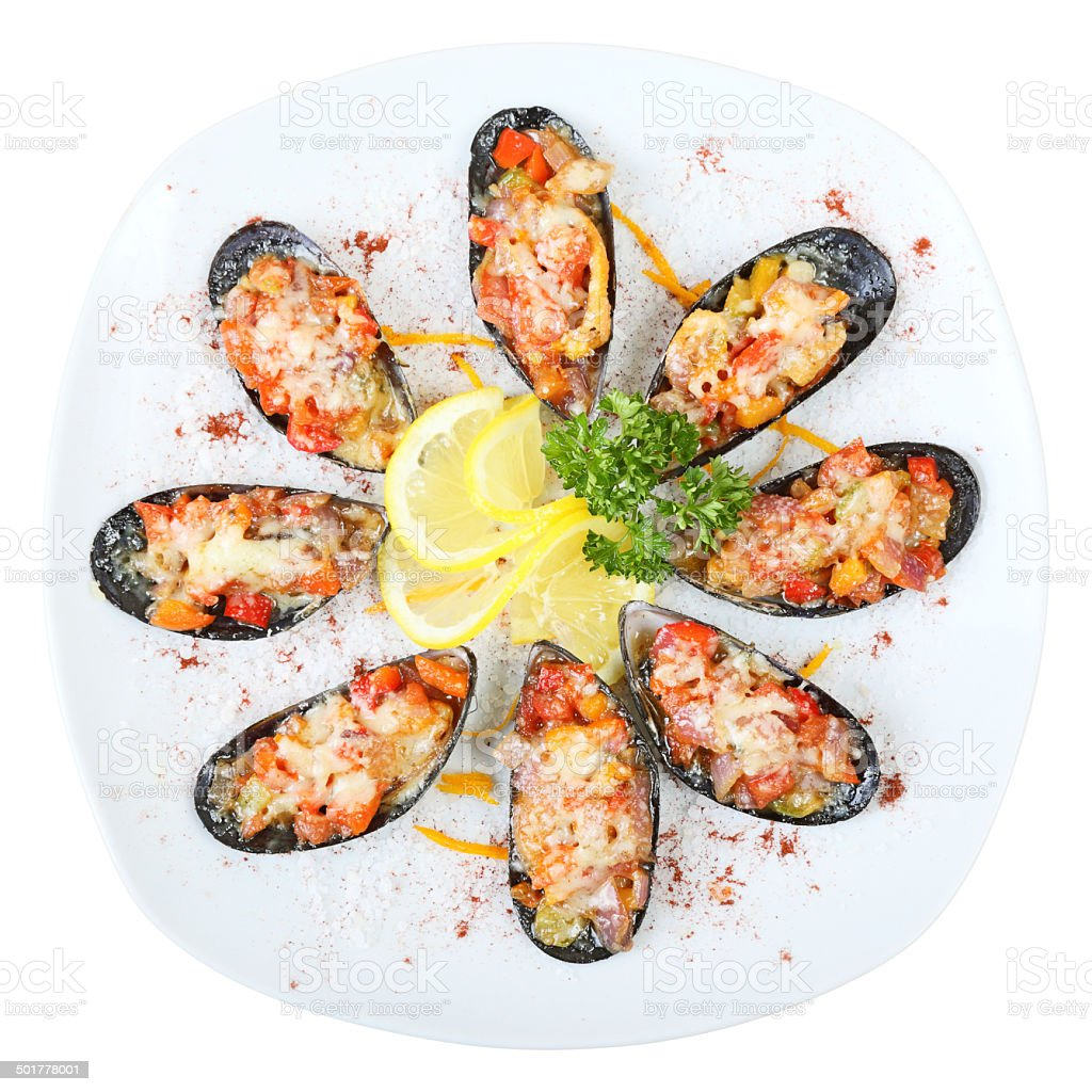 Mussels in sea salt Top view stock photo