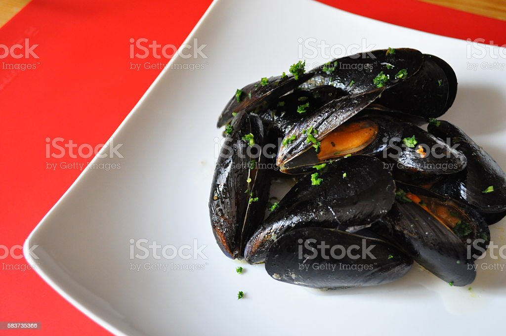 Mussels marinara, Cozze alla marinara royalty-free stock photo
