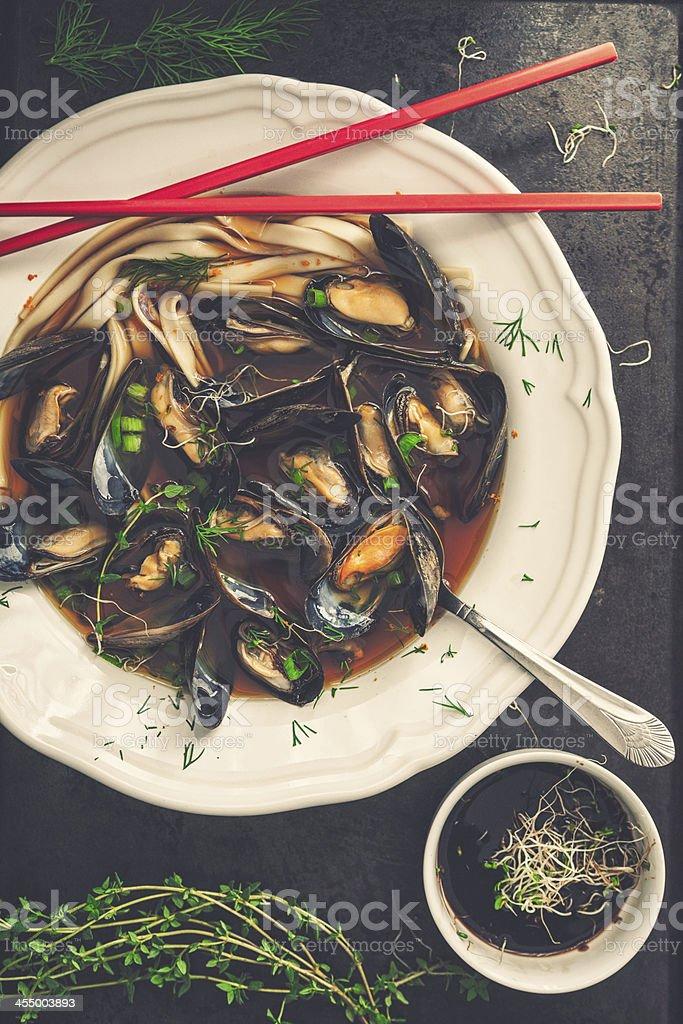 Mussels Noodles Soup stock photo