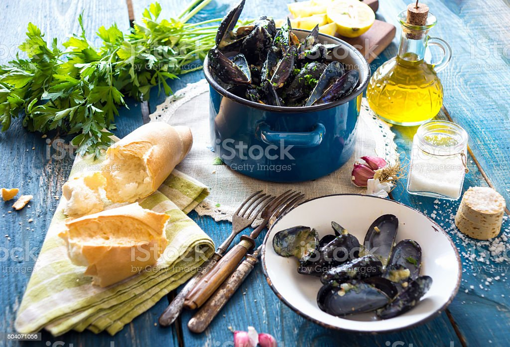 Mussels with buzara sauce stock photo