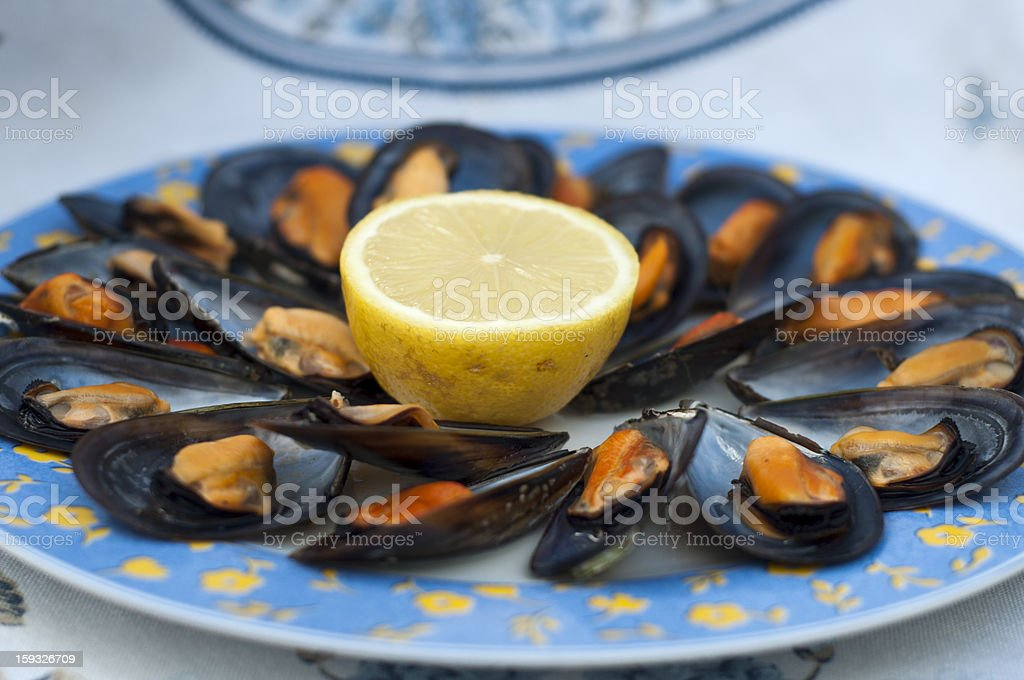 mussels with lemon royalty-free stock photo