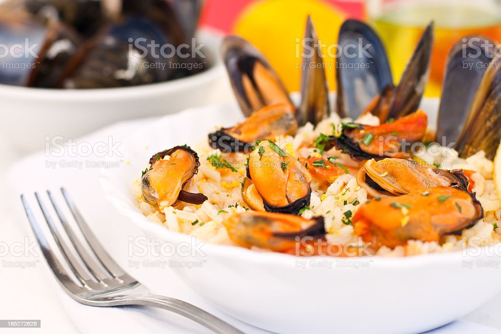 Mussels with Rice royalty-free stock photo