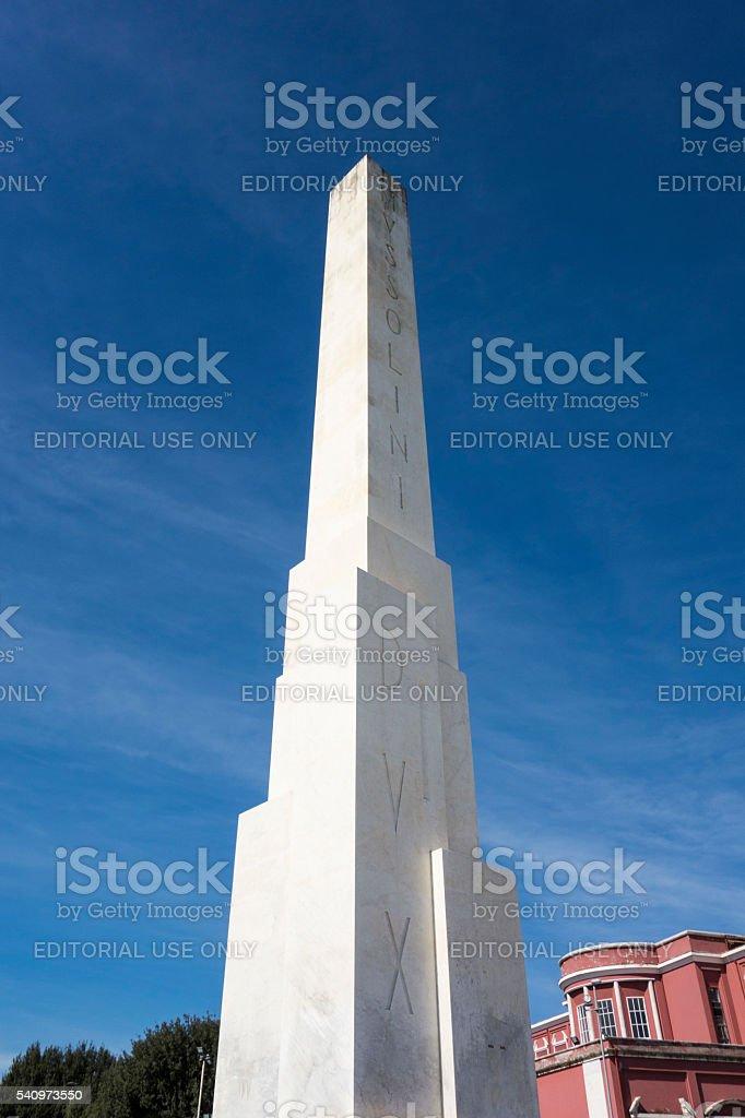 Mussolini Dux Obelisk Foro Italico stock photo