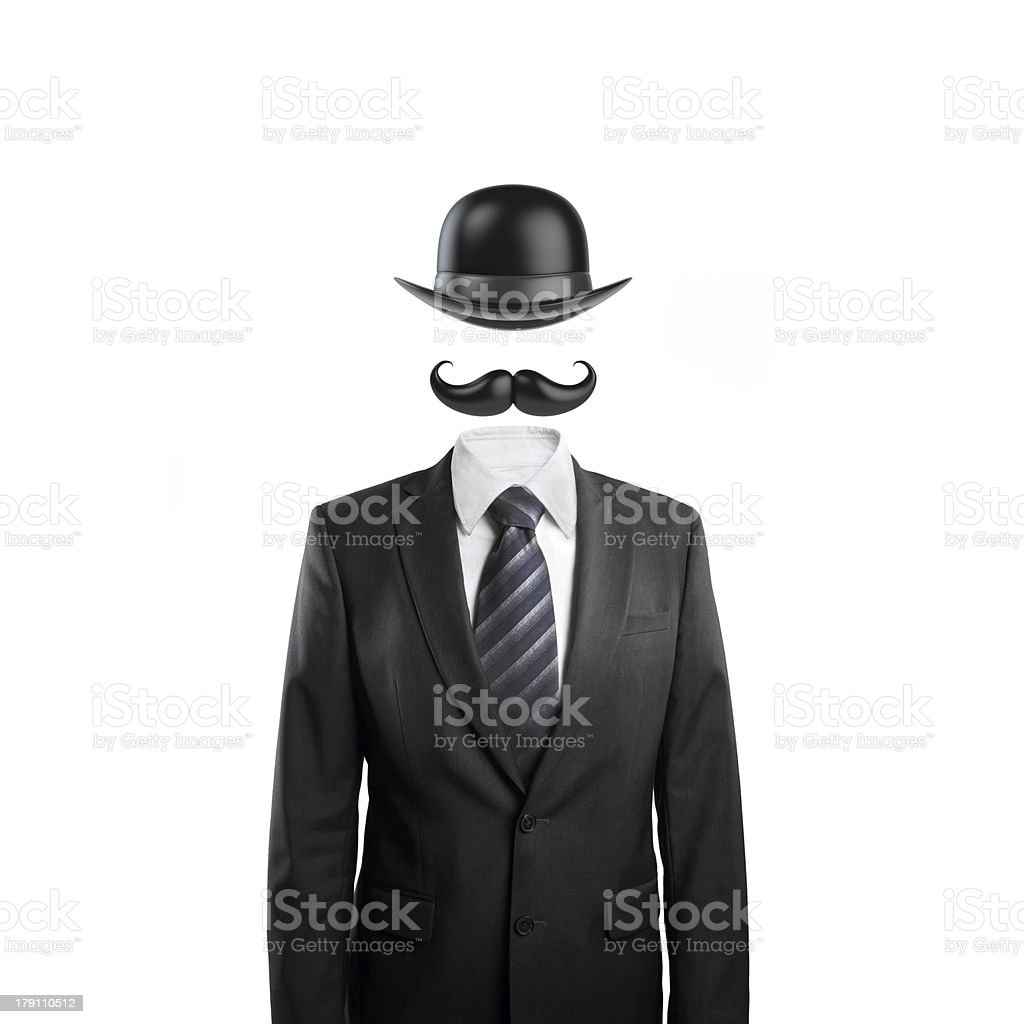 mustache and  bowler hat stock photo