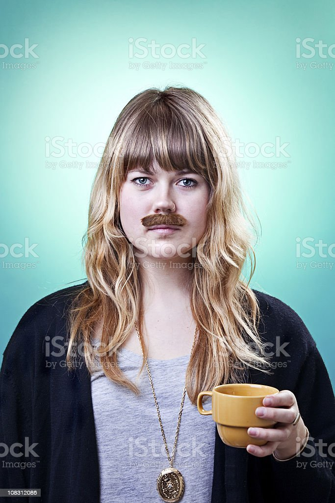 Mustache Beauty Girls royalty-free stock photo