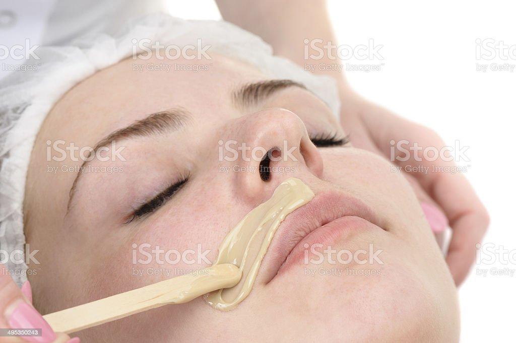 mustache depilation stock photo
