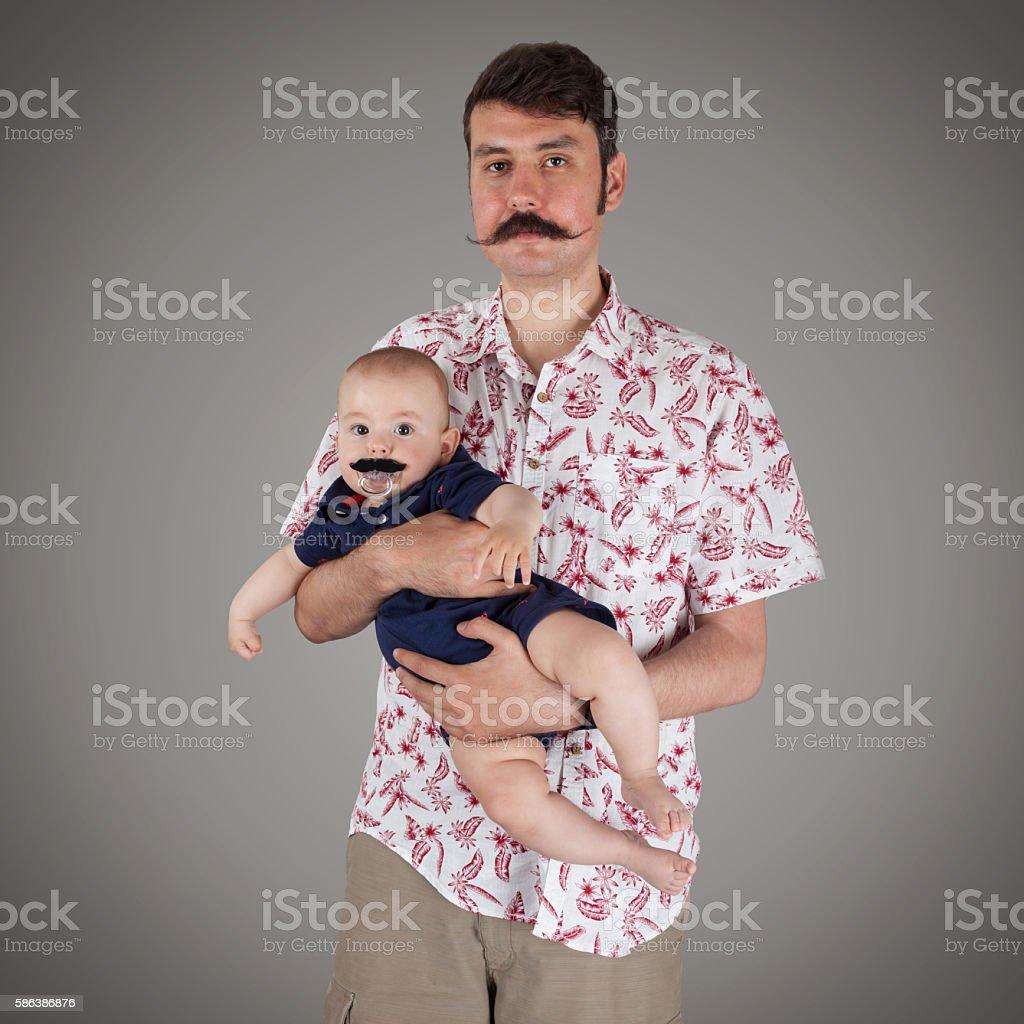 Mustache family stock photo