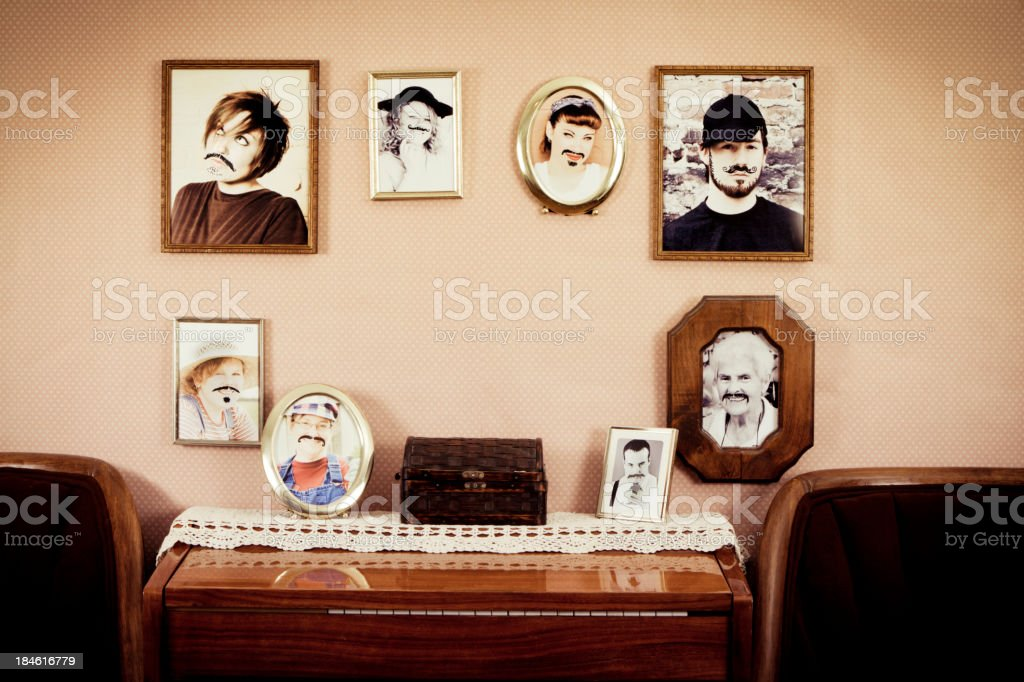 Mustache Family Protraits With Scribbled Moustaches royalty-free stock photo