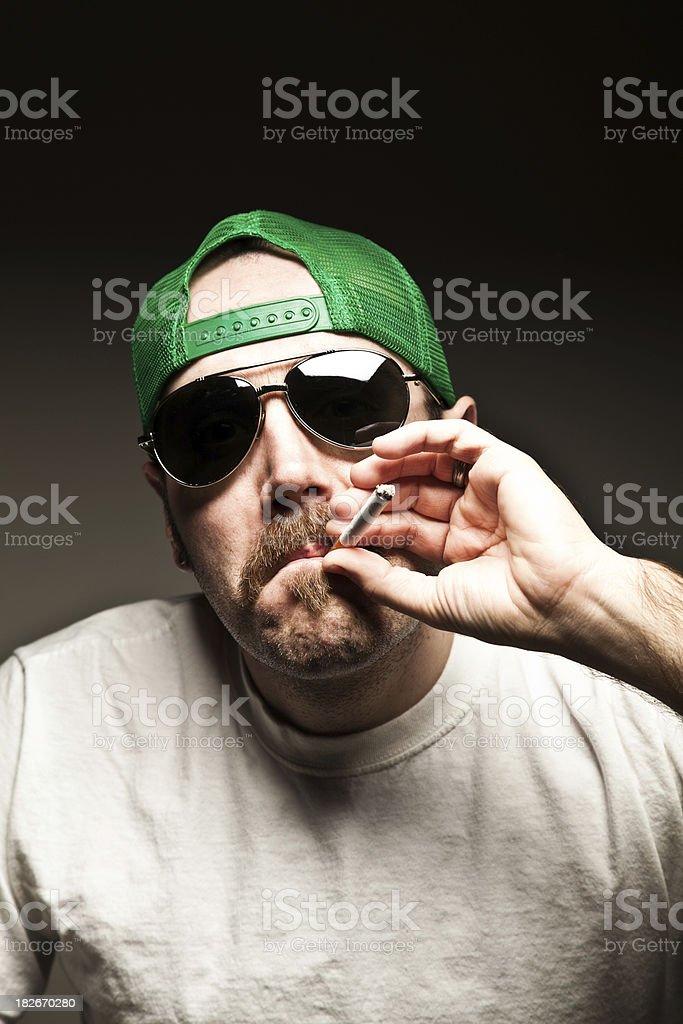 Mustache Guy Smoking stock photo
