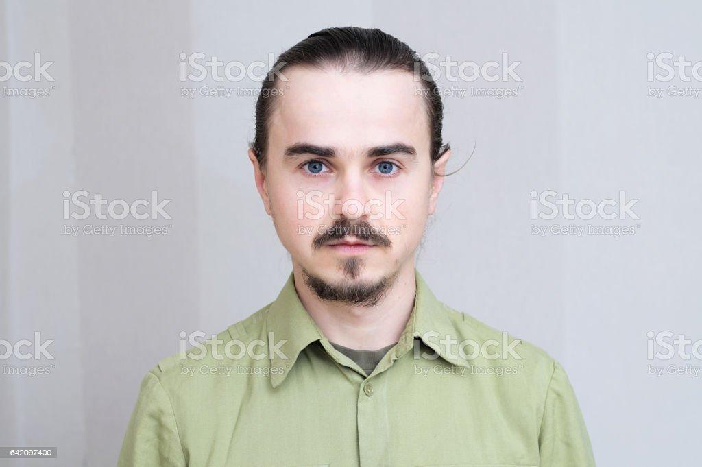 Mustache man portrait, handsome young men fulk face stock photo