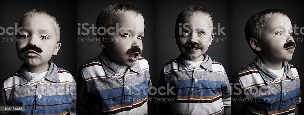 Mustached Little Boy stock photo