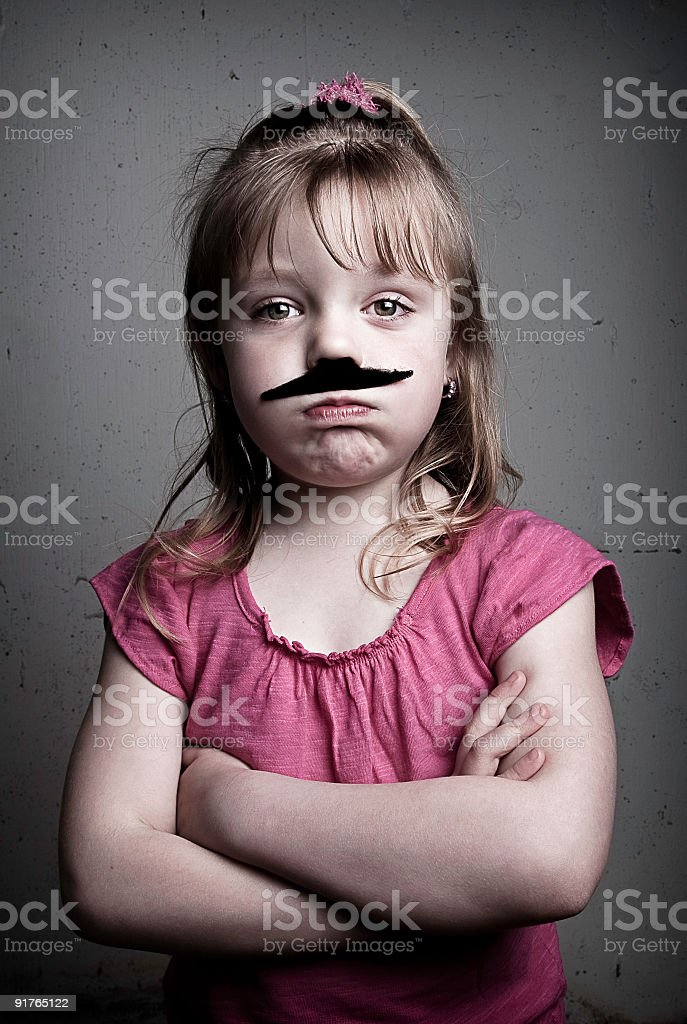 Mustached Little Girl royalty-free stock photo