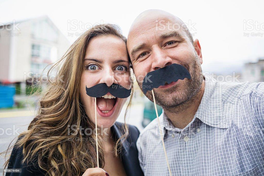 Mustaches selfie stock photo