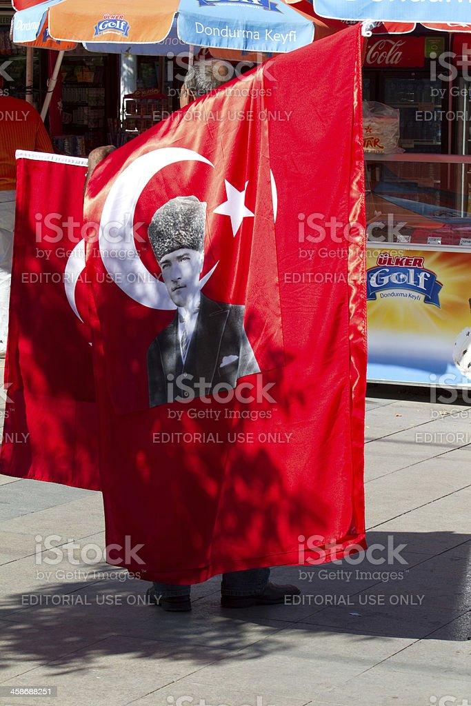 Mustafa Kemal Atat?rk flag royalty-free stock photo