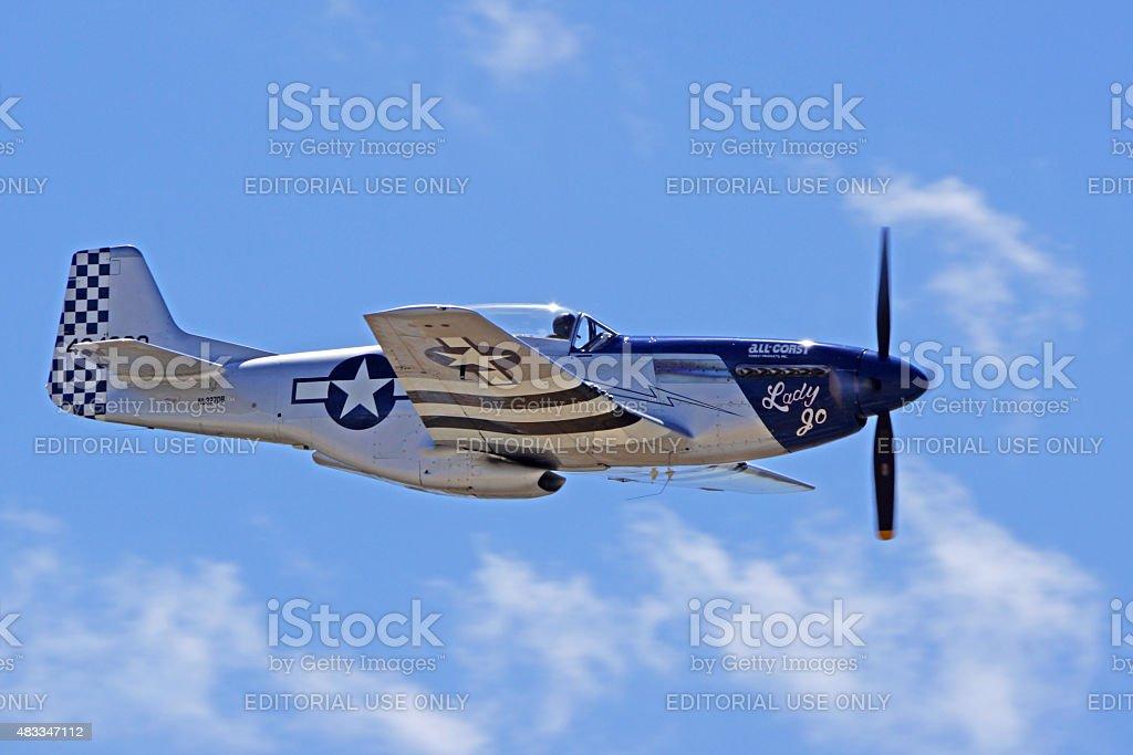 P-51 Mustang Aircraft flying at 2015 Air Show stock photo