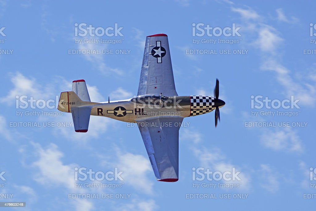 P-51 Mustang Airplane flying at Air Show stock photo