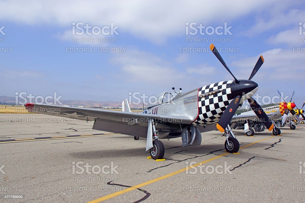 P-51 Mustang Airplane line-up at 2015 Air Show stock photo
