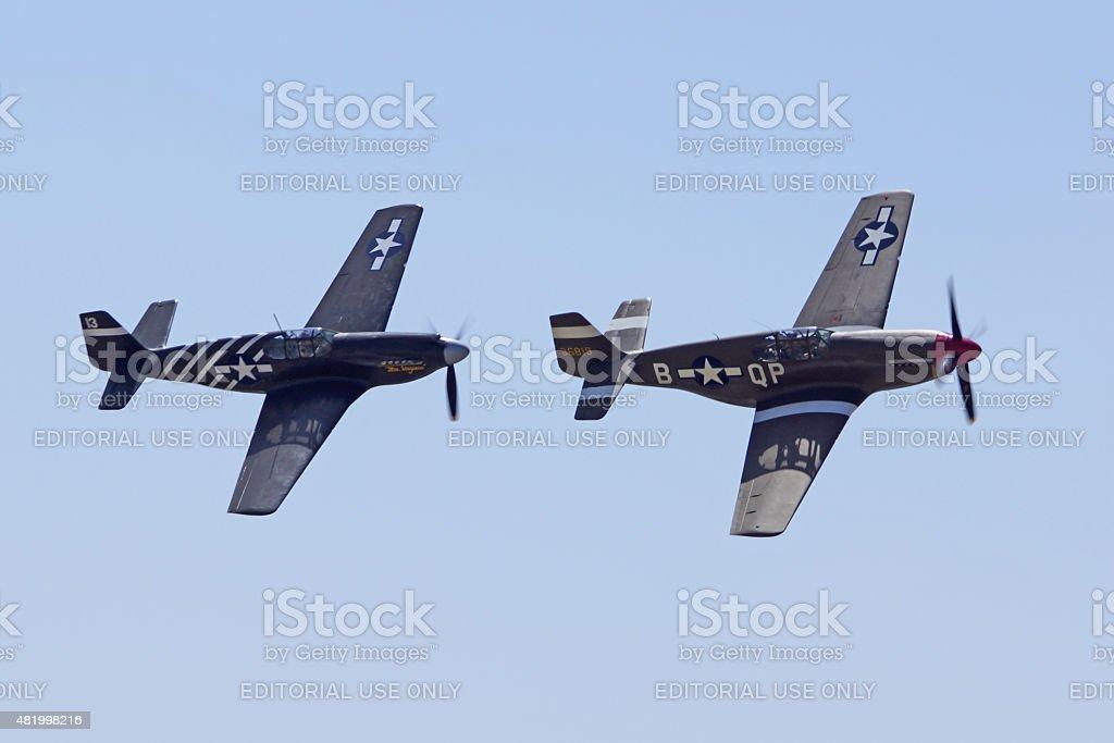 P-51 Mustang Airplanes at Air Show stock photo