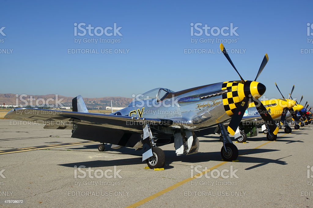 P-51 Mustang Airplanes line-up at 2015 Air Show stock photo