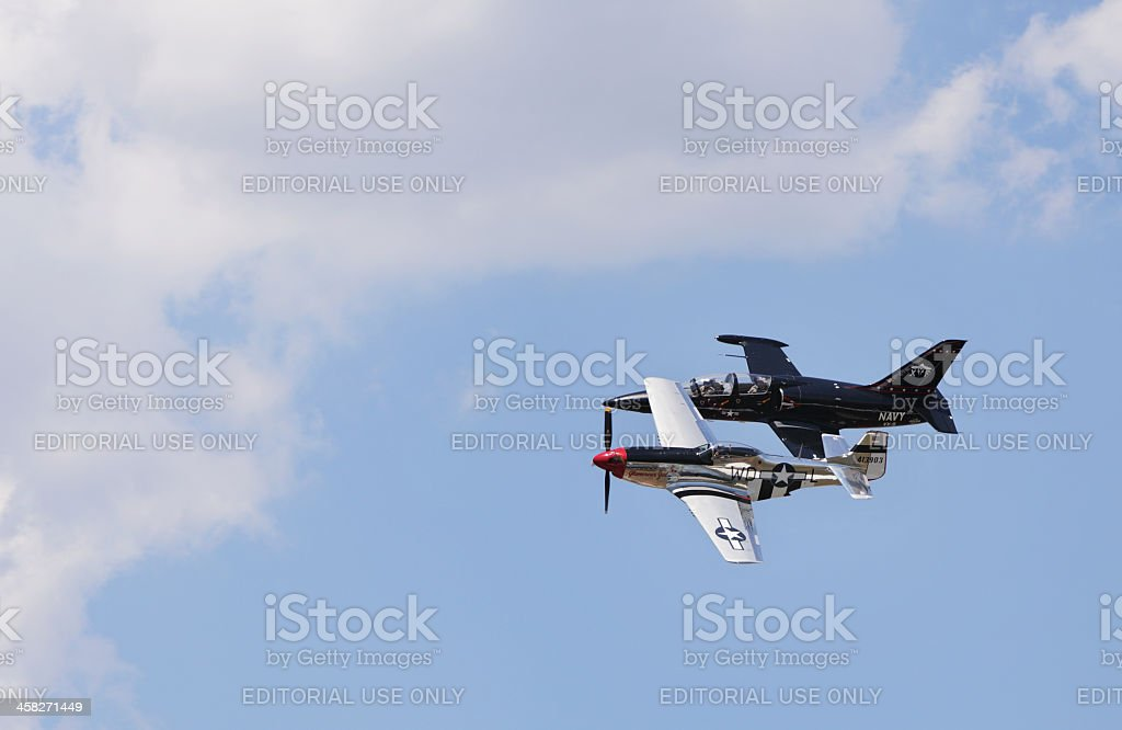 P-51 Mustang and Aero L-39 Albatros Aircraft at Airshow royalty-free stock photo