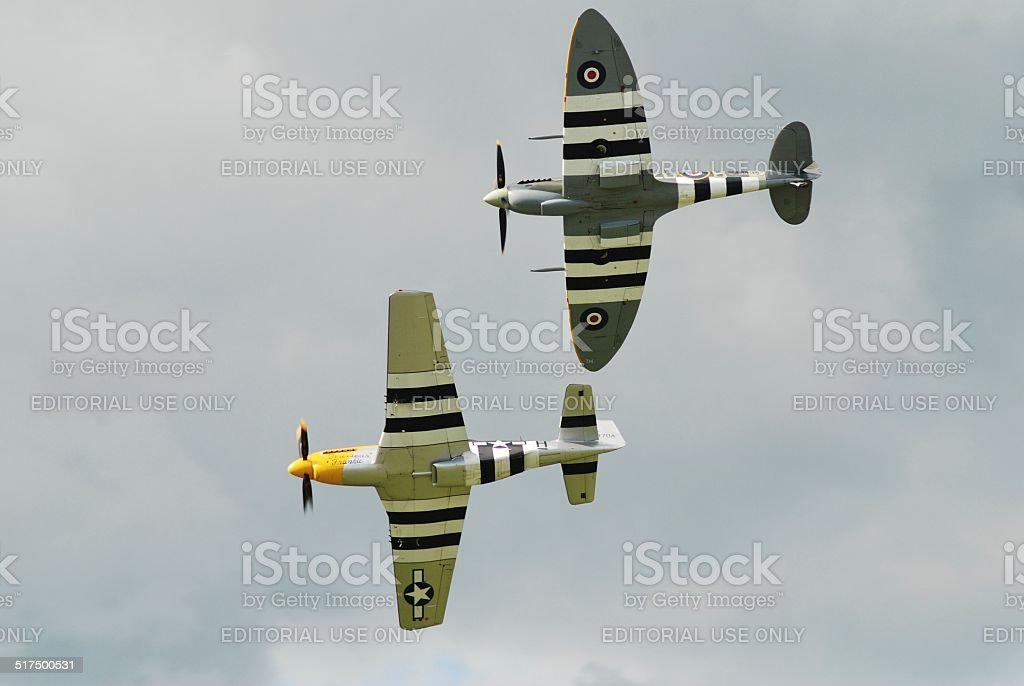 Mustang and Spitfire fighters stock photo