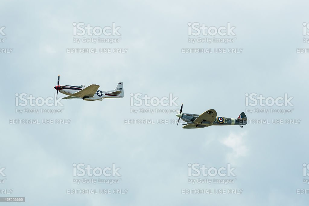 Mustang and Spitfire stock photo