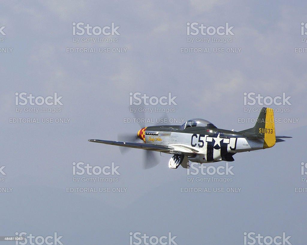 P-51 Mustang at take-off stock photo