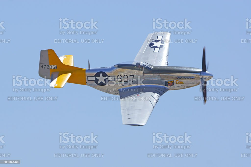 P-P-51 Mustang fighter airplane flying at Air Show stock photo