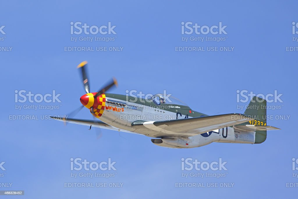 P-51 Mustang flying during 2015 Los Angeles Air Show stock photo