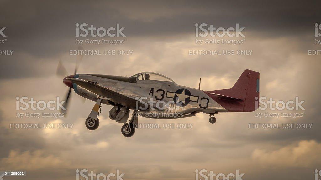 P51 Mustang in flight stock photo