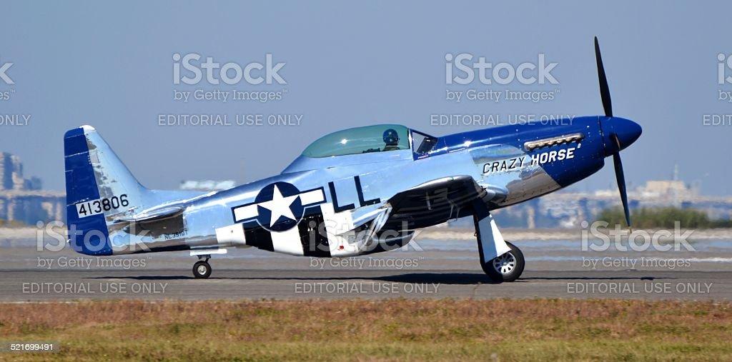 P-51 Mustang on Runway stock photo